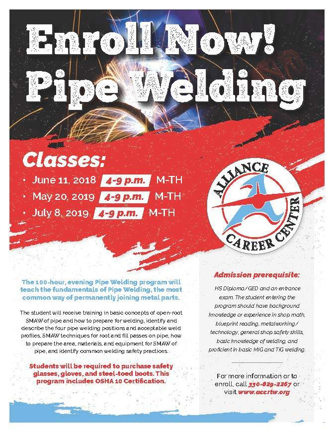 *New 100 Hour Pipe Welding with OSHA 10* Starts June 11th