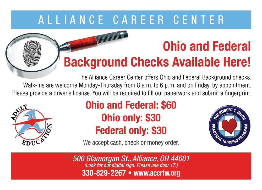 Get your FBI/BCI Checks at ACC!