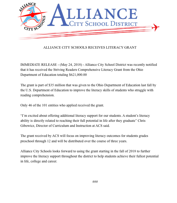 Alliance City Schools receives competitive literacy grant