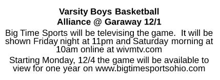 Boys Basketball TV Info 12/1
