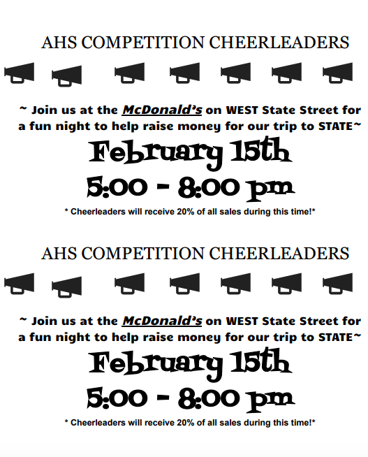 Cheer fund raiser info