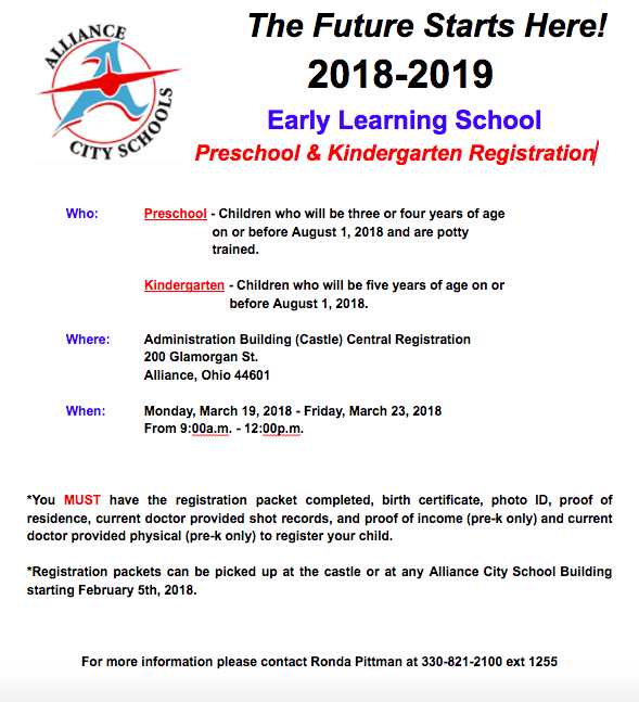 Kindergarten/Preschool registration
