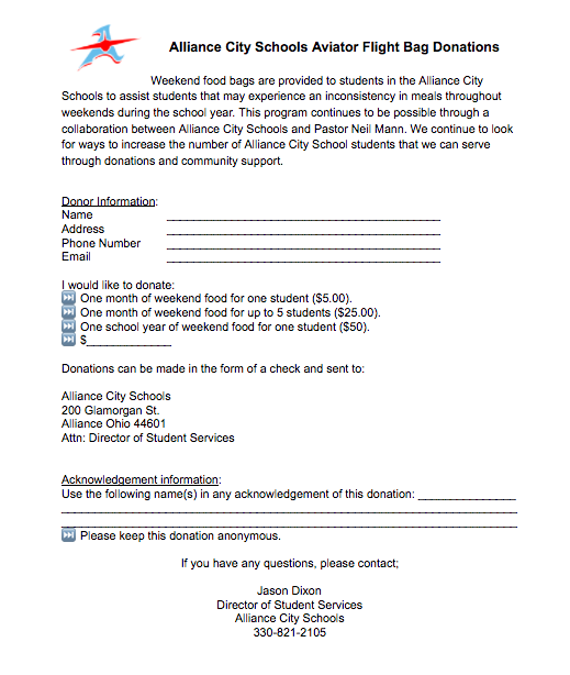 Flight Bag donation form