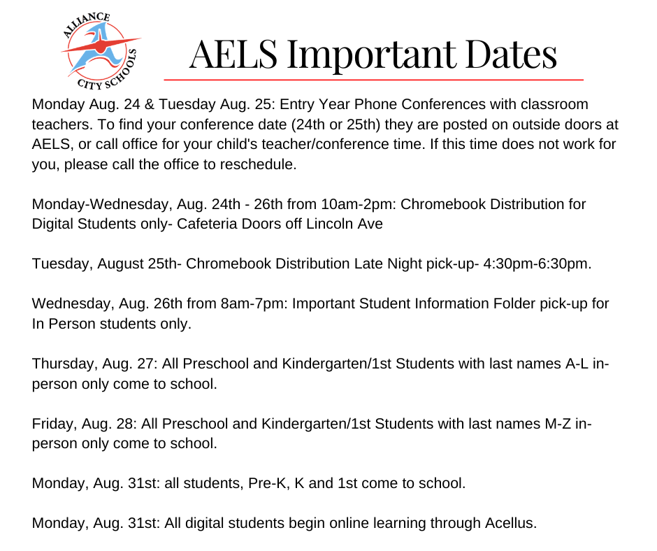 AELS dates to remember