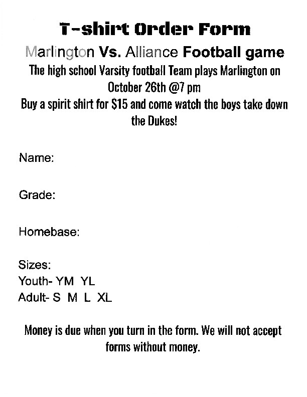 Alliance-vs-Marlington T-Shirt Order Form